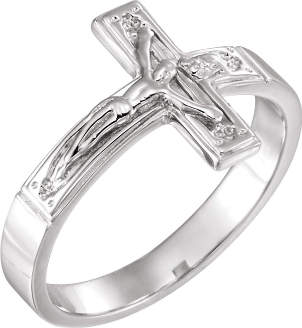 Women's Crucifix Chastity Ring, 14k White Gold 15.25mm, Size 4