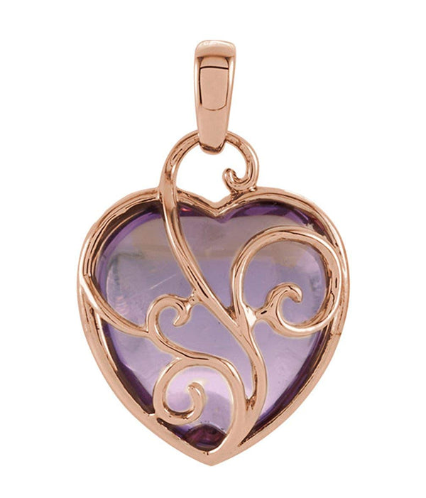 14k Rose Gold Rose De France Quartz Pendant