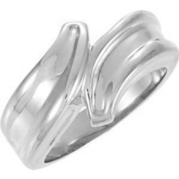 Vintage Style Bypass Ring, 8mm Rhodium-Plated 14k White Gold, Size 6