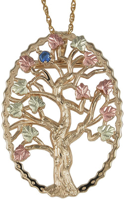 Sapphire Tree Pendant Necklace, 10k Yellow Gold, 12k Green and Rose Gold Black Hills Gold Motif, 18""