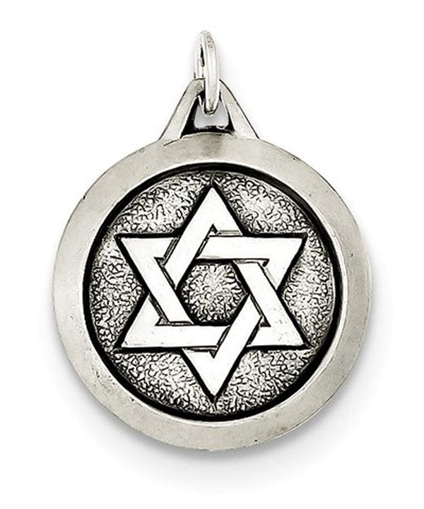 Sterling Silver Antiqued Star Of David Medal (21X18MM)
