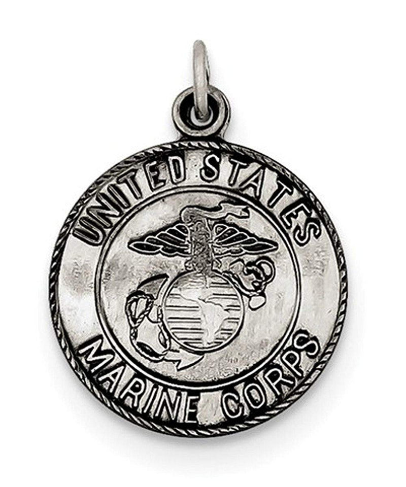 Sterling Silver US Marine Corp Medal (23X18MM)