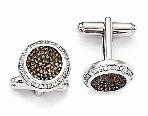 Rhodium-Plated Sterling Silver, Pave Brown Cubic Zirconia Brilliant Embers Coin Cuff Links, 16MM