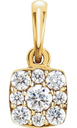 Diamond Cluster Pendant, 14k Yellow Gold (.25 Ctw, GH Color, I1 Clarity)