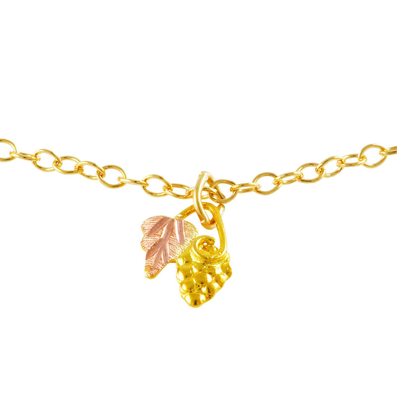 Grape Cluster and Leaf Drop Pendant Necklace, 10k Yellow Gold, 12k Green and Rose Gold Black Hills Gold Motif, 18""
