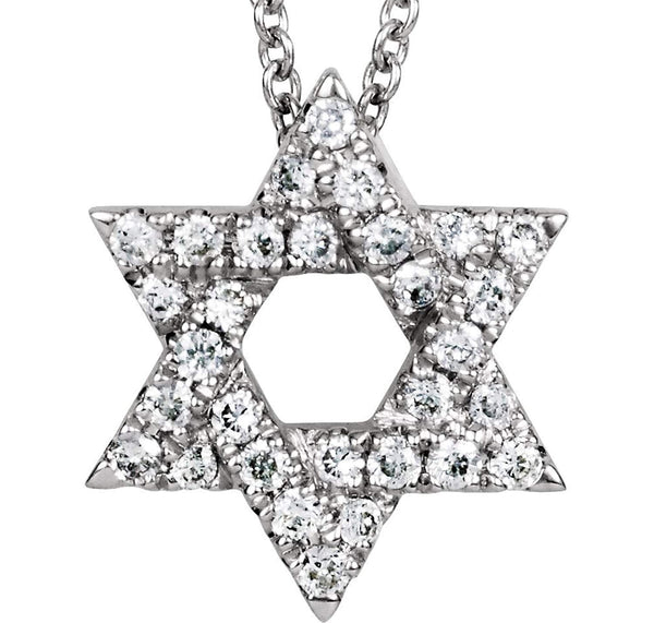 "Petite Diamond Star of David 14k White Gold Necklace, 16"" (1/6 Cttw)"