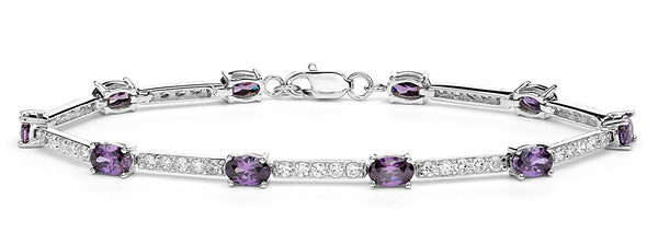 Oval Purple CZ and White CZ Rhodium Plated Sterling Silver Link Bracelet, 7.75 ""