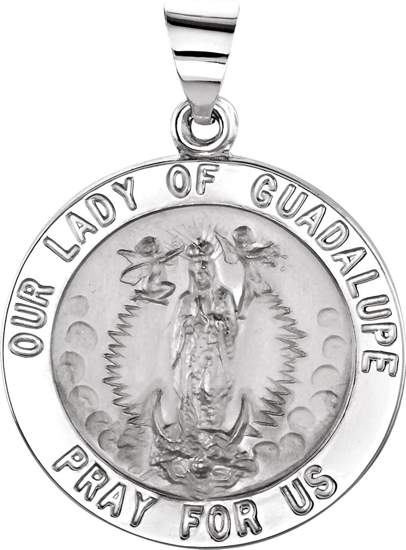 14k White Gold Round Hollow Our Lady of Guadalupe Medal (15 MM)