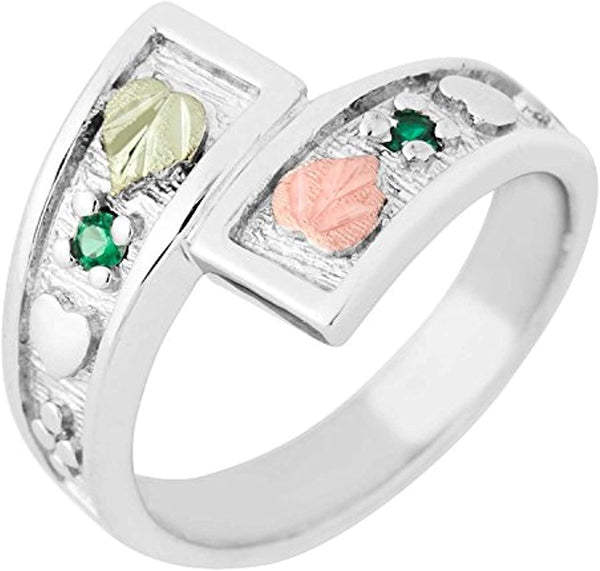 May Birthstone Created Soude Emerald Bypass Ring, Sterling Silver, 12k Green and Rose Gold Black Hills Silver Motif, Size 8.25