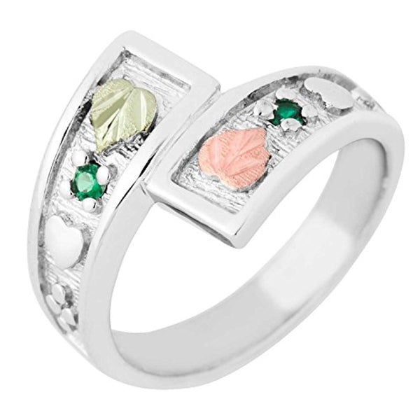 May Birthstone Created Soude Emerald Bypass Ring, Sterling Silver, 12k Green and Rose Gold Black Hills Silver Motif, Size 8.5