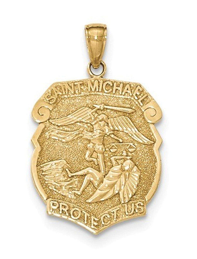 14k Yellow Gold Saint Michael Protect Us Medal Charm Pendant