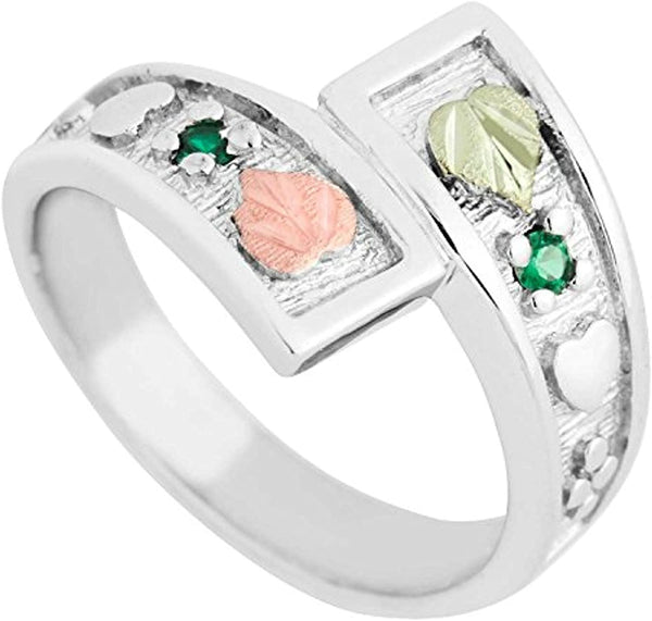 May Birthstone Created Soude Emerald Bypass Ring, Sterling Silver, 12k Green and Rose Gold Black Hills Silver Motif, Size 5.75