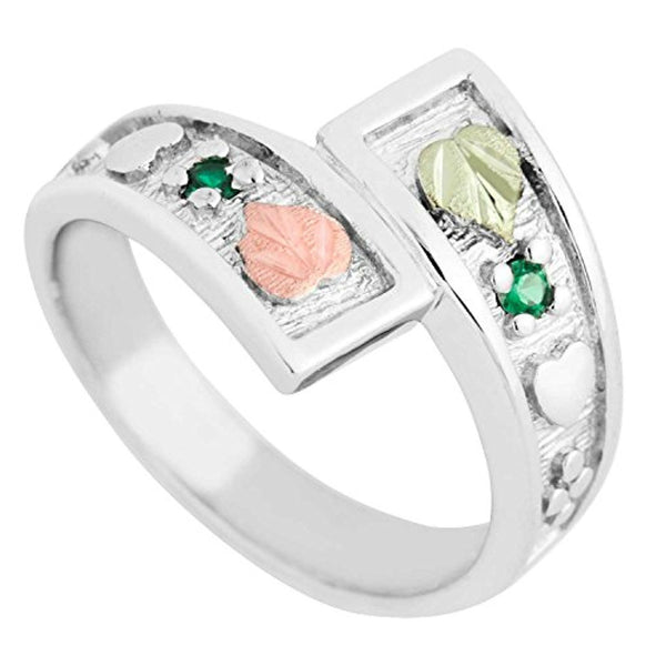 May Birthstone Created Soude Emerald Bypass Ring, Sterling Silver, 12k Green and Rose Gold Black Hills Silver Motif, Size 9.75