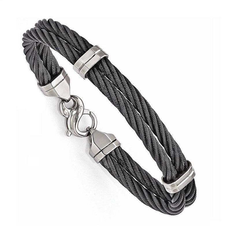"Signature Cable Collection Titanium and Black Memory Two Cable Bracelet, 8.5"" (7MM)"