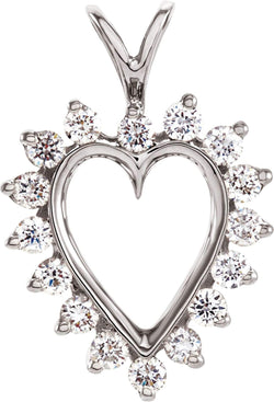 14k White Gold Diamond Heart Pendant (.48 Ctw, GH Color, I1 Clarity)