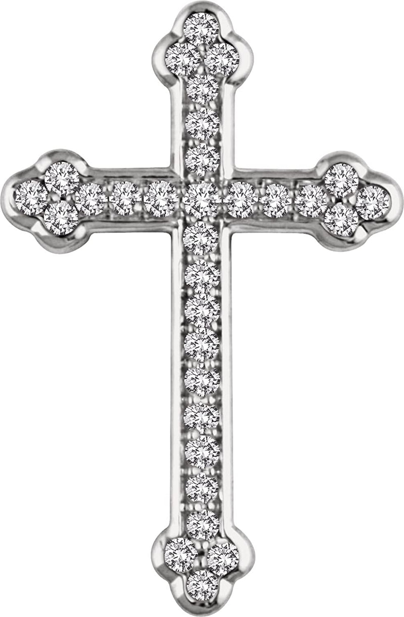 Diamond Botonée Cross 14k White Gold Pendant (.33 Ctw, H+ Color, I1 Clarity)