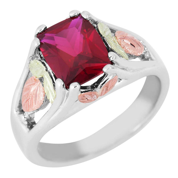 January Birthstone Created Garnet Ring, Sterling Silver, 12k Green and Rose Gold Black Hills Silver Motif, Size 4