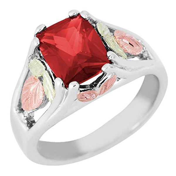 July Birthstone Created Ruby Ring, Sterling Silver, 12k Green and Rose Gold Black Hills Silver Motif, Size 9.5