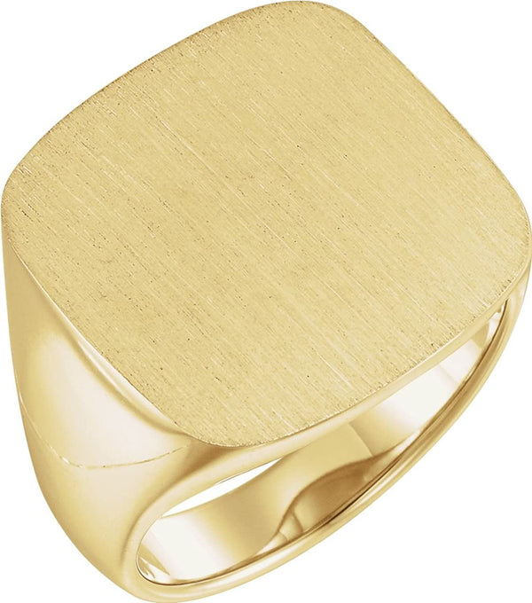 Men's Signet Semi-Polished 18k Yellow Gold Ring (20mm) Size 11
