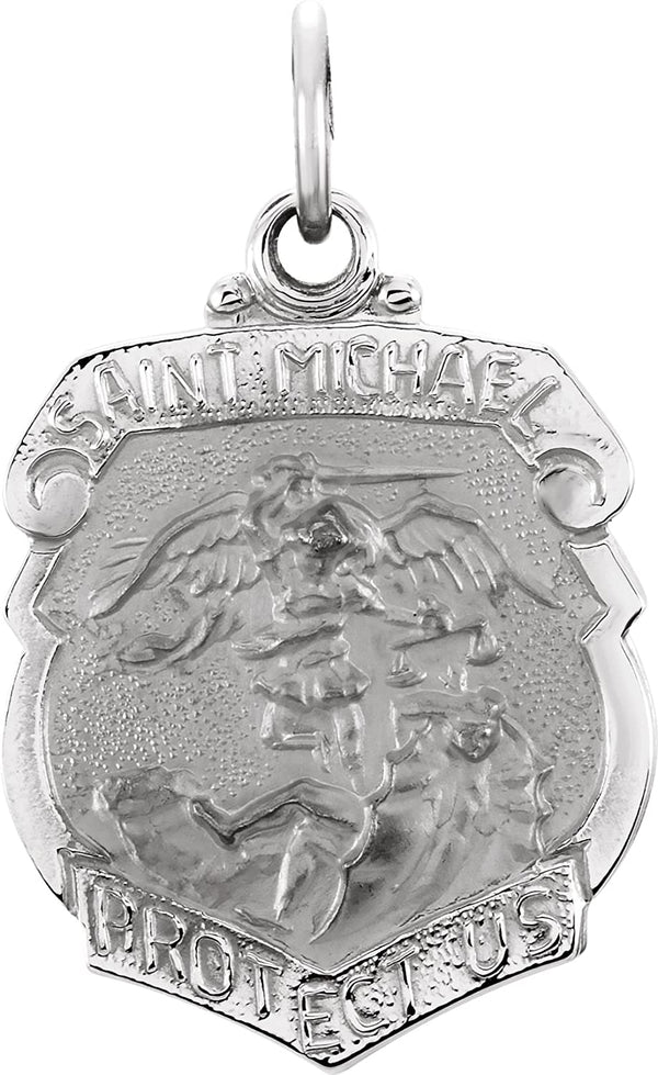 Sterling Silver St. Michael Shield (18 MM)