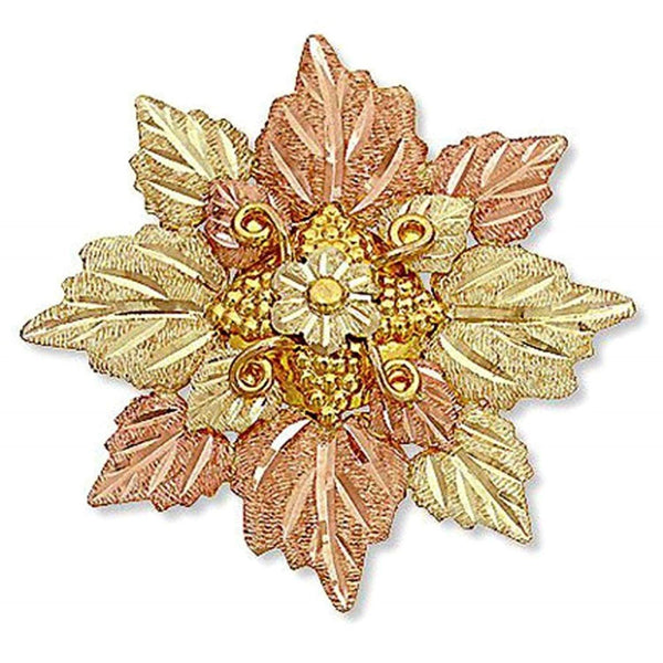 Graduated Cluster Leaves Brooch Pin, 10k Yellow Gold, 12k Green and Rose Gold Black Hills Gold Motif