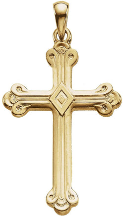 Cathedral Cross 14k Yellow Gold Pendant