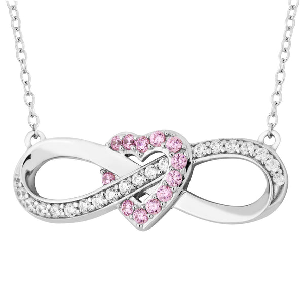Pink and White CZ Infinity Heart Pendant Necklace, Rhodium Plated Sterling Silver, 18""