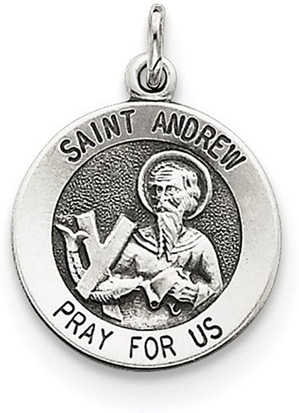 Sterling Silver Antiqued Saint Andrew Medal (21X15MM)