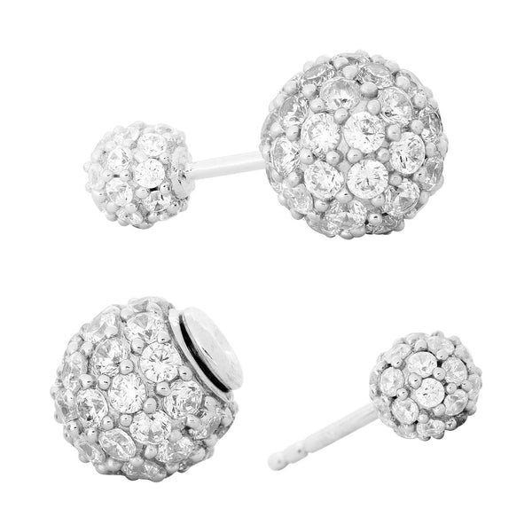 CZ Double-Sided, Double Ball Rhodium Plated Sterling Silver Stud Earrings