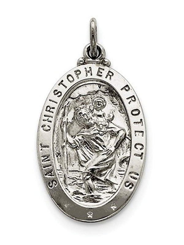 Sterling Silver Saint Christopher Medal Charm Pendant (31X20 MM)