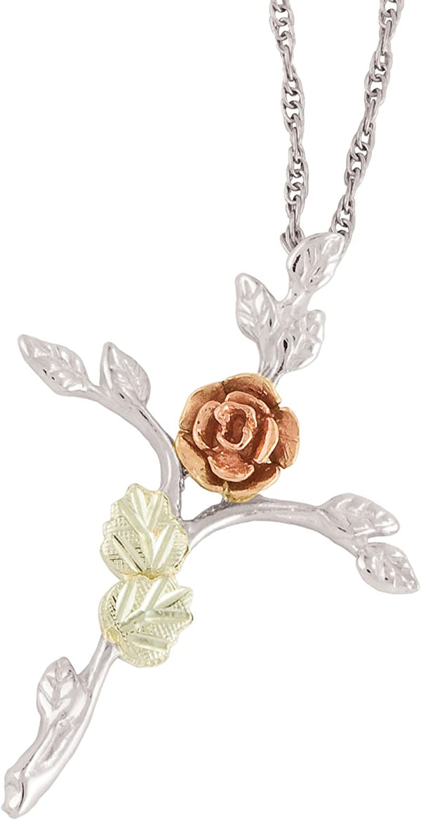 Tree of Life Rose Cross Pendant Necklace, Sterling Silver, 12k Green and Rose Gold Black Hills Gold Motif, 18""