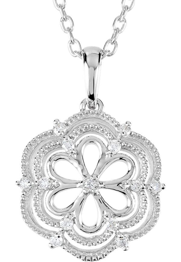 "13-Stone Diamond Flower Pendant Necklace, Sterling Silver, 18"" (.08 Ctw)"