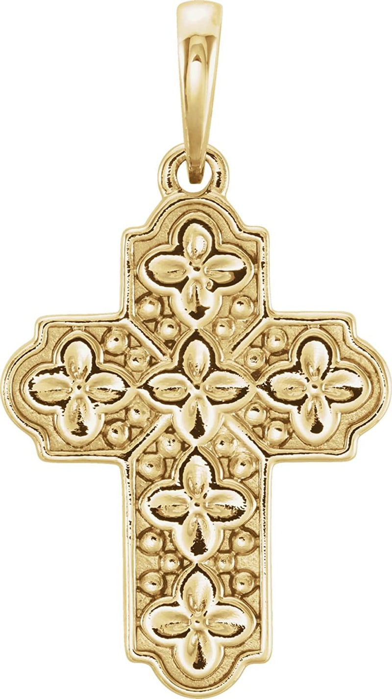 Ornate Floral-Inspired Cross 14k Yellow Gold Pendant (17.80X13.70 MM)