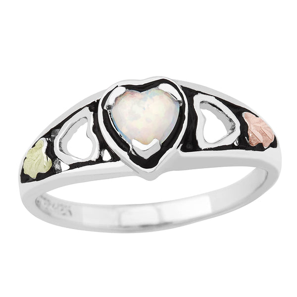Created Opal Heart Ring, Sterling Silver, 12k Gold Pink and Green Gold Black Hills Gold Motif