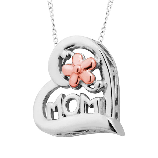 "'MOM' Heart Flower Pendant Necklace, Rhodium Plated Sterling Silver, 10k Rose Gold, 18"" to 22"""