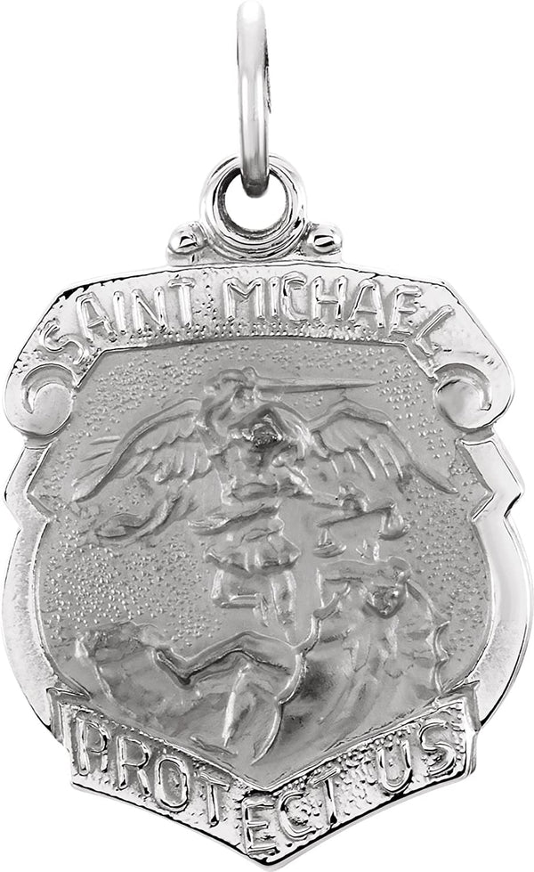 Sterling Silver St. Michael, the Archangel Medal Shield Pendant (28m X 21m)