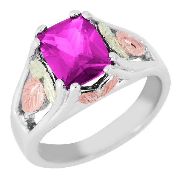 October Birthstone Created Rose Zircon Ring, Sterling Silver, 12k Green and Rose Gold Black Hills Silver Motif