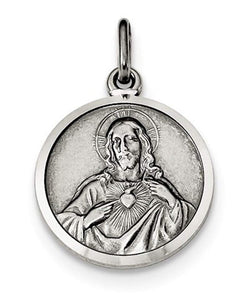 Sterling Silver Sacred Heart Of Jesus Medal (31X16MM)