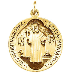 14k Yellow Gold St. Benedict Medal (18.5 MM)