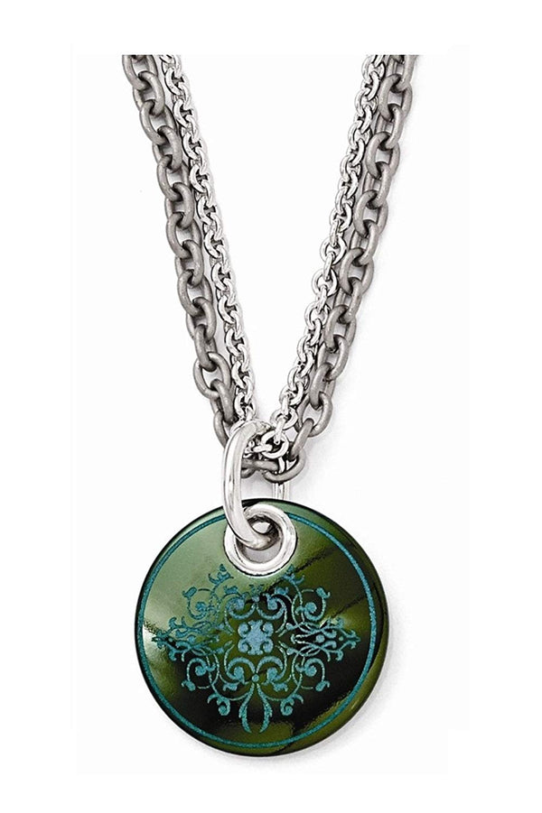 "Edward Mirell Black Titanium Teal Anodized and Sterling Silver Pendant Necklace, 16""-18"""