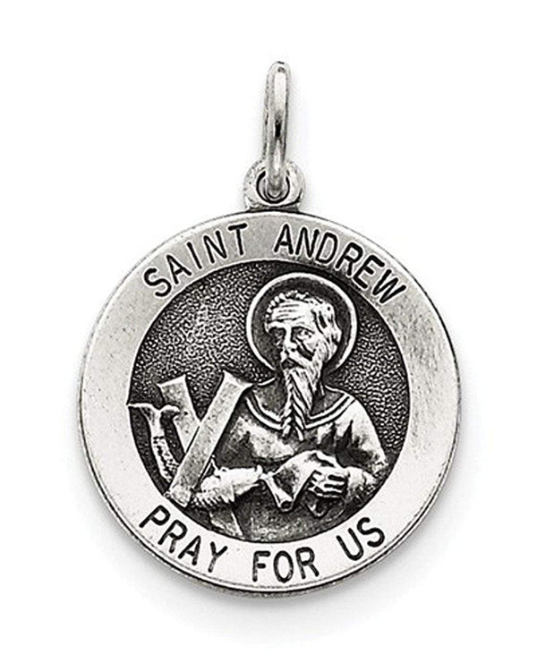 Sterling Silver Antiqued Saint Andrew Medal (26X20MM)