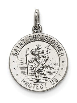 Sterling Silver Saint Christopher Medal Charm Pendant (25X18 MM)