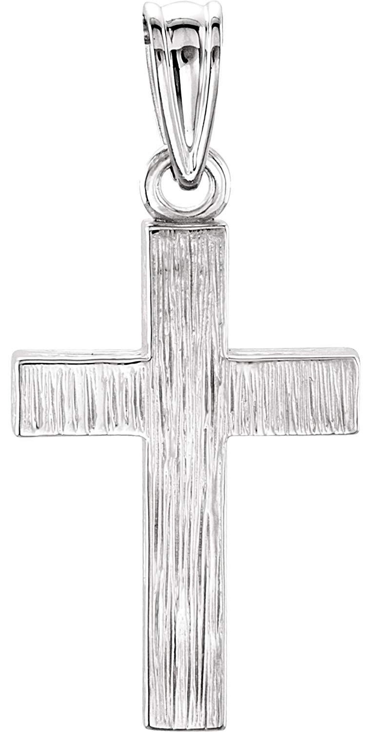 Rugged Cross Brushed Rhodium-Plated 14k White Gold Pendant (20X13MM)