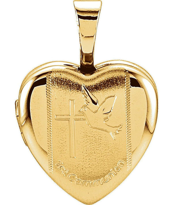 Children's First Communion Heart 14k Yellow Gold Plated Sterling Silver Locket (12.50X12.00 MM)