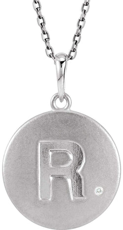 "Diamond Letter 'R' Initial Sterling Silver Pendant Necklace, 18"" (.005 Ct, GH Color, I2 Clarity)"
