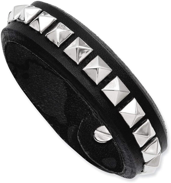 Men's Black Leather with Studs Adjustable 16mm Stainless Steel Push Clasp Bracelet, 9 Inches