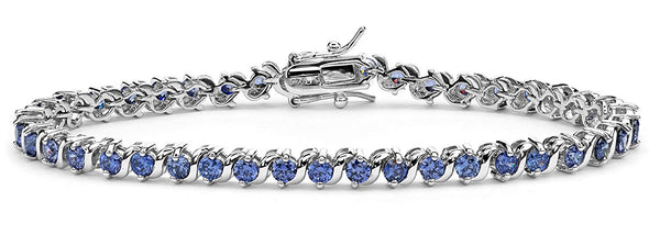 Brilliant Blue CZ Rhodium Plated Sterling Silver Tennis Bracelet, 7.5 ""
