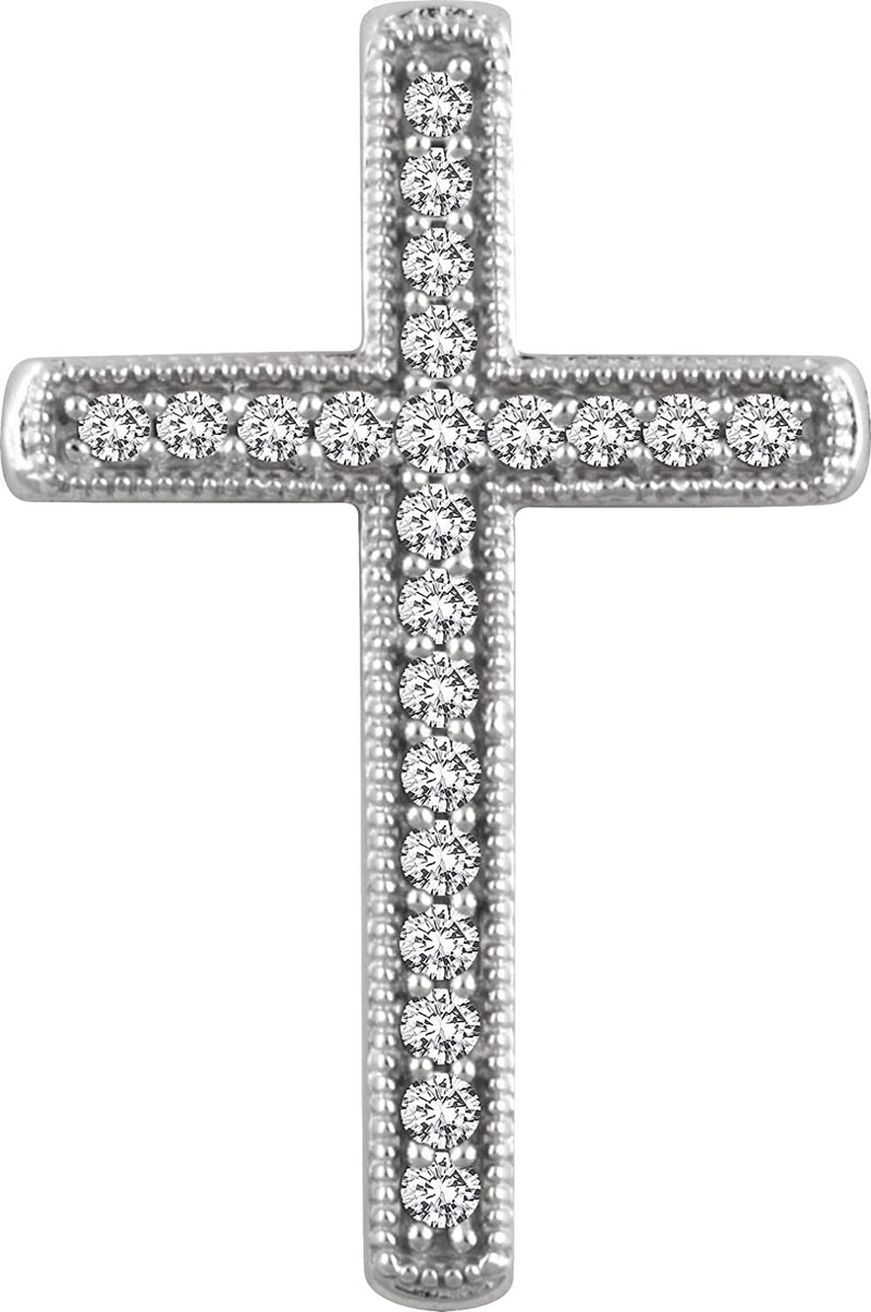 Diamond Chapel Cross Rhodium-Plated 14k White Gold Pendant (.25 Ctw, H+ Color, I1 Clarity)