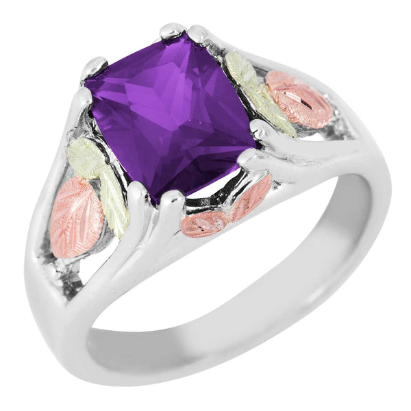February Birthstone Created Soude Amethyst Ring, Sterling Silver, 12k Green and Rose Gold Black Hills Silver Motif