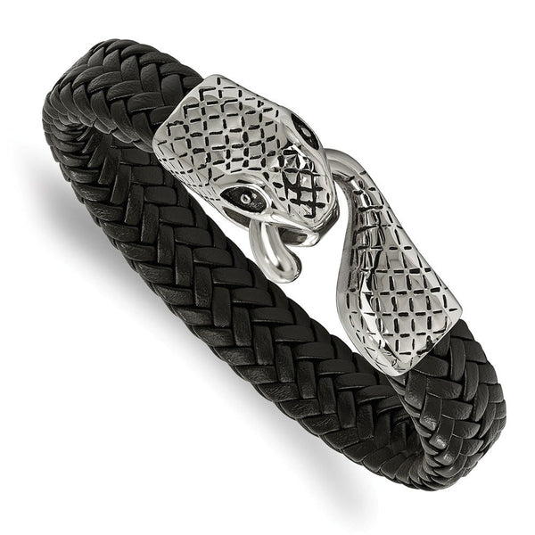 Men's Polished Stainless Steel Leather Strap Snake Bracelet, 8.25""